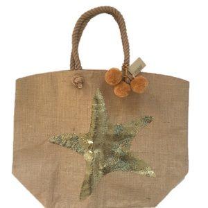 Ecojute Sequin Starfish Pom Pom Beachbag NWT